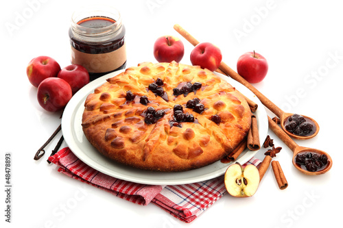 tasty homemade pie, apples and jam, isolated on white