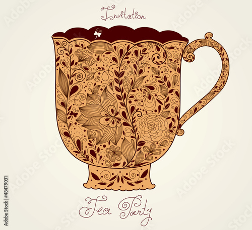 Vintage vector background with tea cup