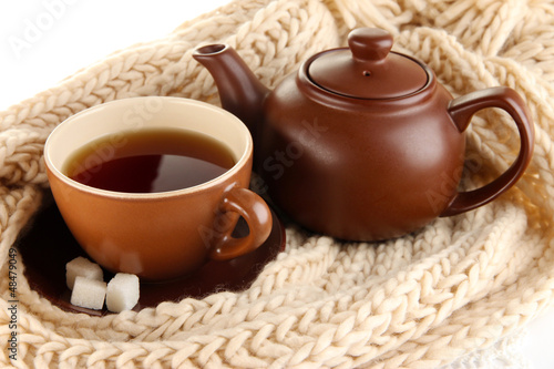 cup of tea with scarf close-up
