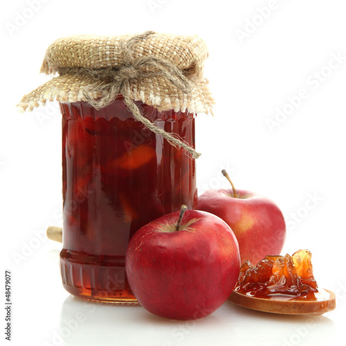tasty homemade jam, isolated on white