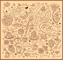 Vintage hand drawn dessert menu