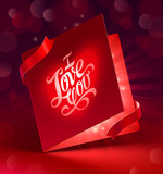 Valentines Day glowing greeting card with ribbon