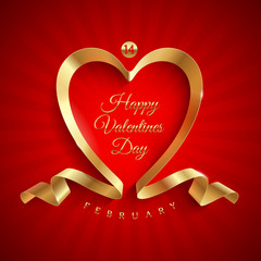 Valentines day greeting with golden ribbon heart