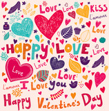 Vector Valentine Greeting card with flowers