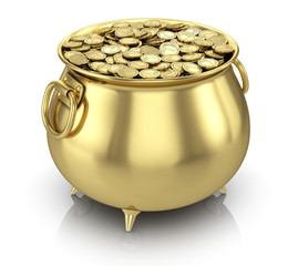 Pot of gold coins isolated on white