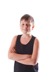 boy in black shirt on a white background