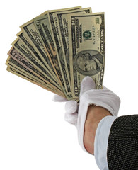 hand in white gloves holding money