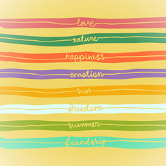Illustration with words in stripes