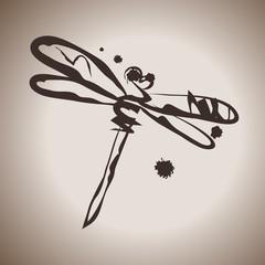 Grunge elegance ink splash illustration with dragonfly