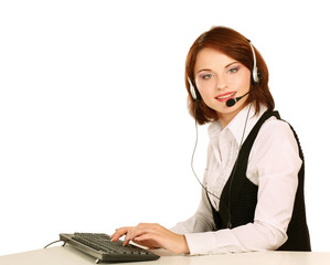 A smiling young customer service girl