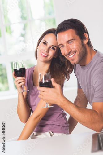 Smiling couple at the camera