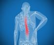 Transparent digital skeleton having pain on his back