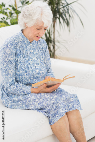 Elderly calm woman reading a old novel