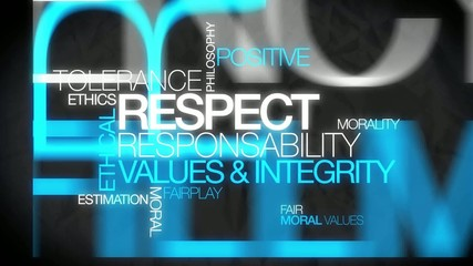 Repsect responsability fairplay word tag cloud video