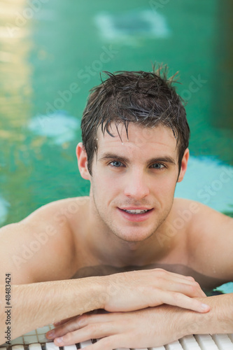Handsome man in the pool