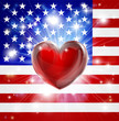Love America flag heart background