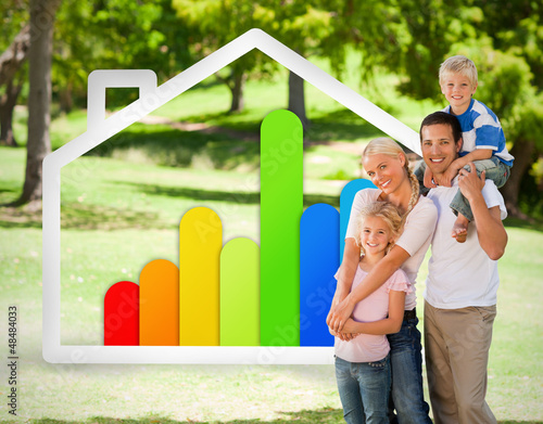 Happy family near to an energy effiecient house illustration