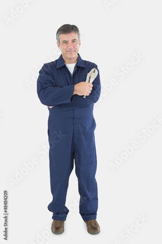 Technician holding locking pliers