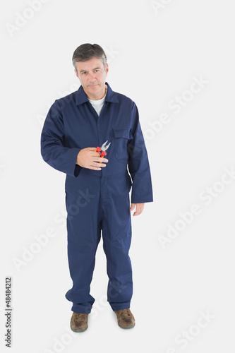 Mature technician holding pliers