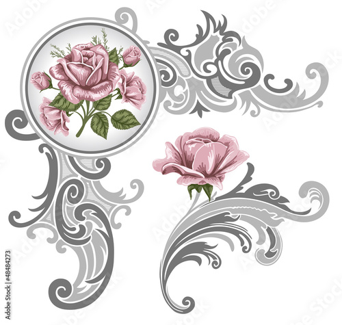 Corner piece ornament of roses