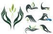 Set of hands holding symbols of ecology