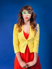 Funny colorful portrait of an attractive young woman