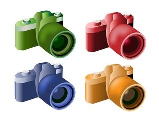 Four Color Illustration of Modern Digital Cameras