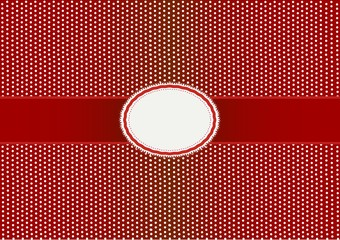Round Label Pattern with A Red Background