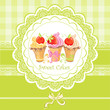 Vintage card with cupcakes