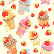 Seamless pattern with cupcakes, strawberry and cherry