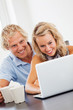 Happy young couple using laptop