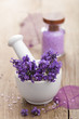 spa set with fresh lavender