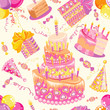 Happy birthday seamless background pattern.
