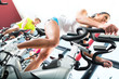 Young People Spinning in the fitness gym