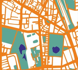 Abstract vector city map or plan with streets and buildings