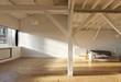Loft con parquet, assi in legno. Interno