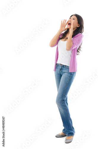 Asian woman shouting