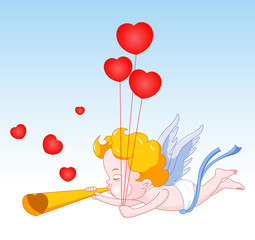 Cupid Blowing Horn with Hearts