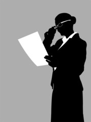 businesswoman reading report - vector