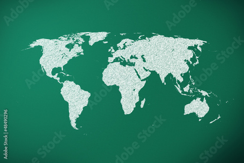 world map on green chalk board
