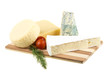 Variety of cheese: ementaler, gouda, Danish blue soft cheese and