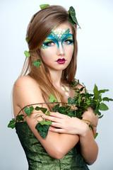 Beautiful Creative Fashion Makeup.Dryad.Mermaid