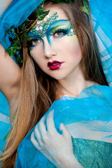 Beautiful Creative Fashion Makeup.Dryad.Mermaid