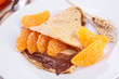 crepe with chocolate and clementine