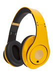 Yellow headphones on white background