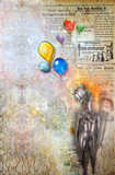 Grunge background with colored balloons
