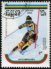 stamp printed by Cambodia shows slalom