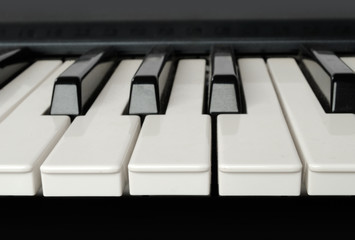 Piano keys front over view