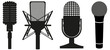 icon set of microphones black silhouette vector illustration - 48493694