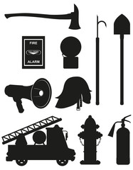 set icons of firefighting equipment black silhouette vector illu